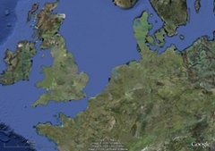 Zoomed out satelite map of UK showing location of Dunwich